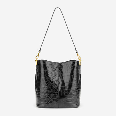 Leah Bucket Bag - Black Croc