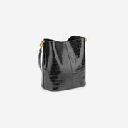Leah Mini Bucket Bag - Black Croc