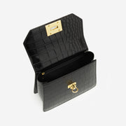 Ava Top Handle Bag - Black Croc
