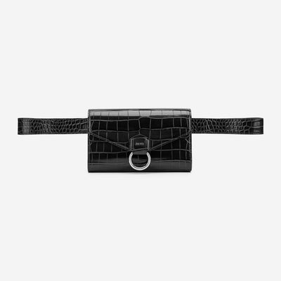 The Envelope Belt Bag - Black Croc