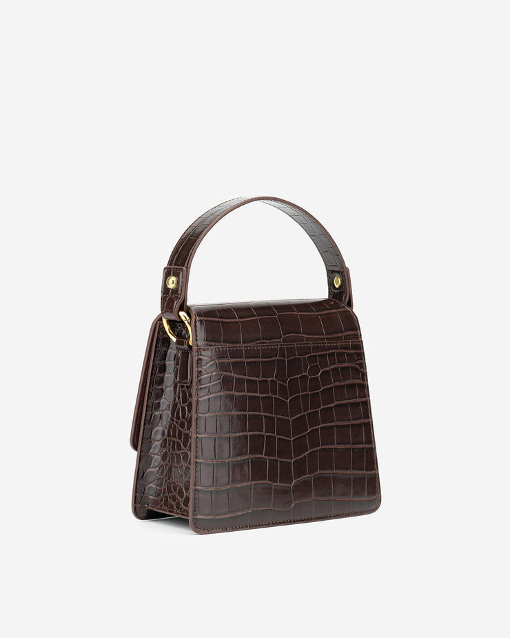 The Fae Top Handle Bag - Nutella Croc