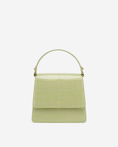 The Fae Top Handle Bag - Mint Green Croc