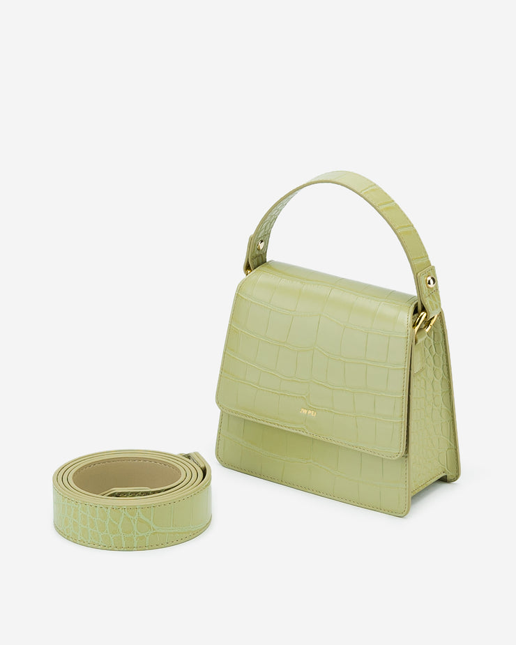 The Fae Top Handle Bag - Sage Green Croc