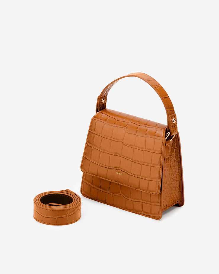 The Fae Top Handle Bag - Light Brown Croc