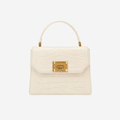 Ava Top Handle Bag - Beige Croc