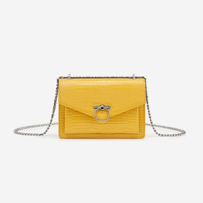The Envelope SS Chain Crossbody Bag - Mustard Croc