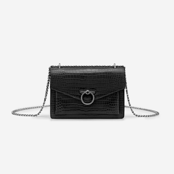The Envelope SS Chain Crossbody Bag - Black  Croc