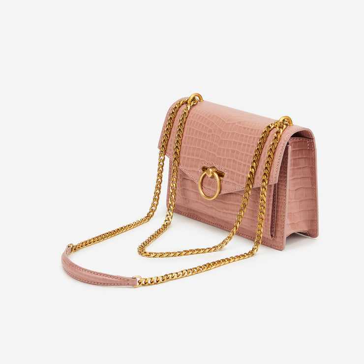 The Envelope SS Chain Crossbody Bag - Pink Croc