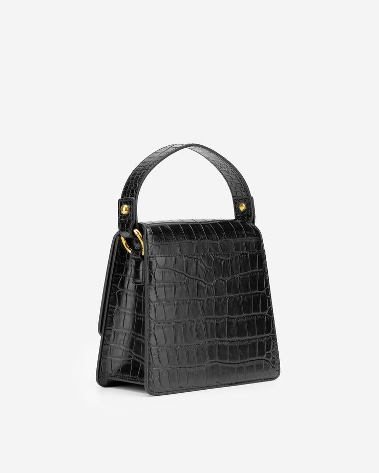 The Fae Top Handle Bag - Black Croc