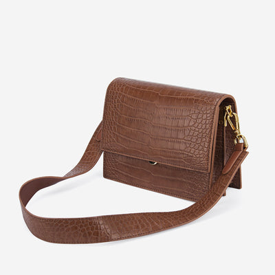 Mini Flap Bag - Light Brown Croc