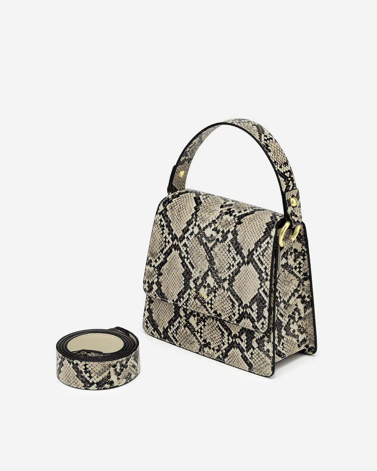 The Fae Top Handle Bag - Natural Snake Embossed
