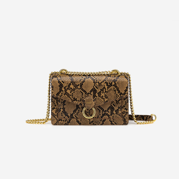 The Envelope Chain Crossbody - Caramel Snake Embossed