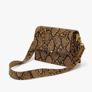 Mini Flap Bag - Caramel Snake Embossed