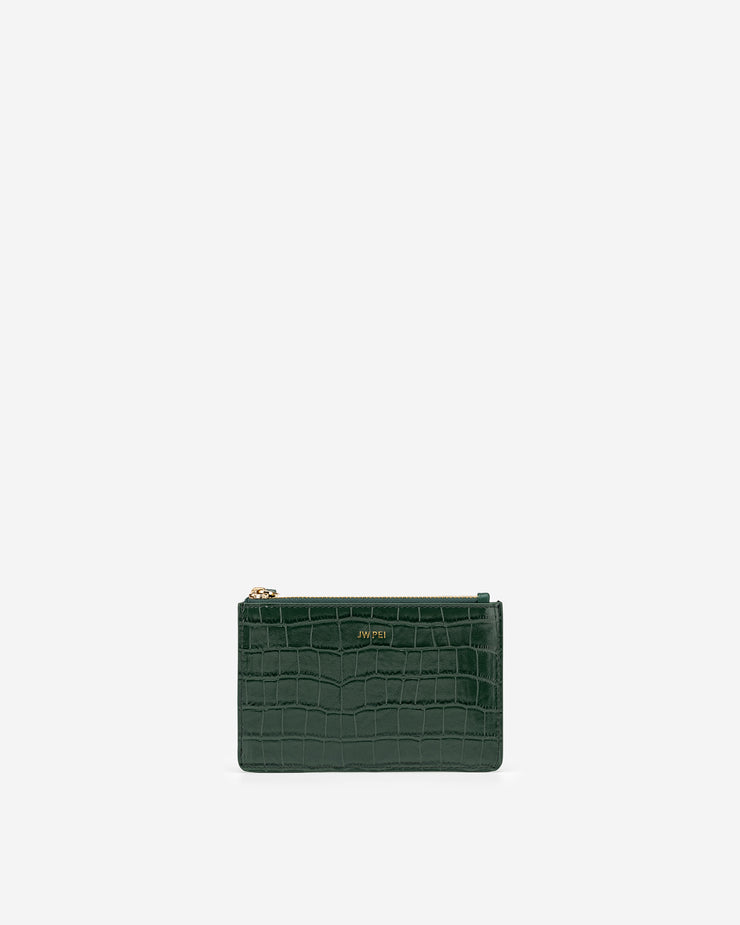 Quinn Zipped Card Holder- Dark Green Croc