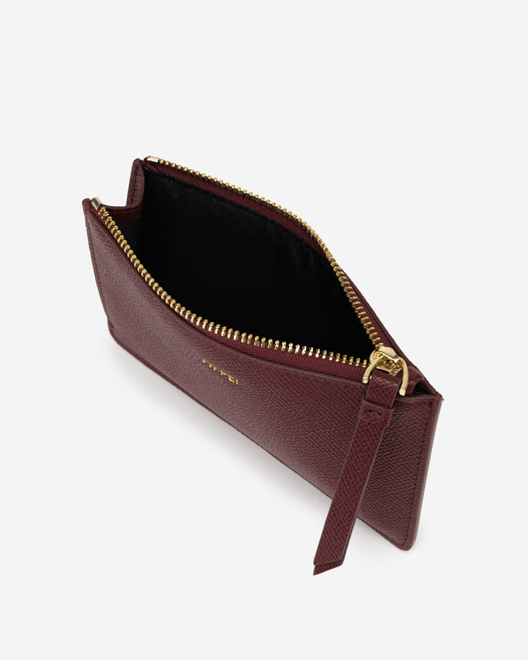 Quinn Zipped Card Holder- Burgundy Grained Vegan Leather