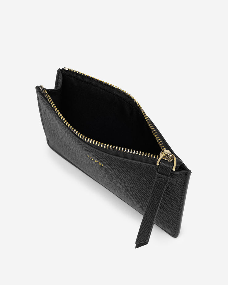 Quinn Zipped Card Holder- Black Grained Vegan Leather