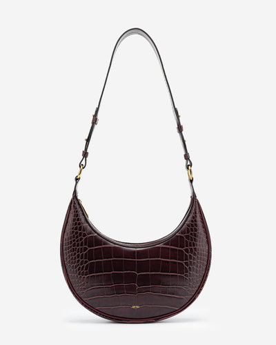 Carly Saddle Bag - Brown Croc