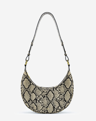 Carly Saddle Bag - Natural Snake Embossed