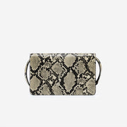 Julia Acrylic Chain Crossbody Bag - Natural Snake Embossed
