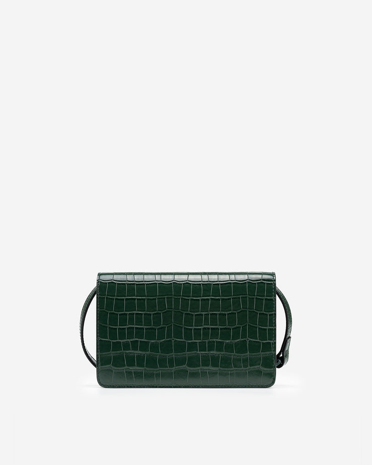 Julia  Acrylic Chain Crossbody Bag -  Dark Green Croc