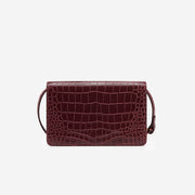 Julia Acrylic Chain Crossbody Bag - Burgundy Croc