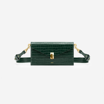 Jane Crossbody Bag - Dark Green Croc