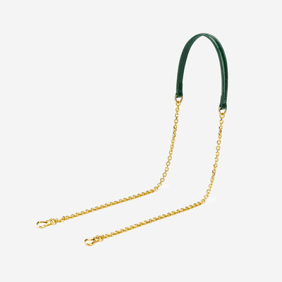 Ivy Golden Chain Strap - Dark Green Croc