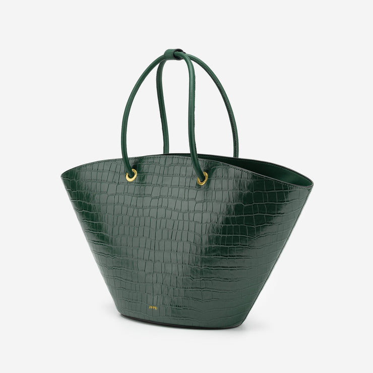 Faye Medium Tote - Dark Green Croc