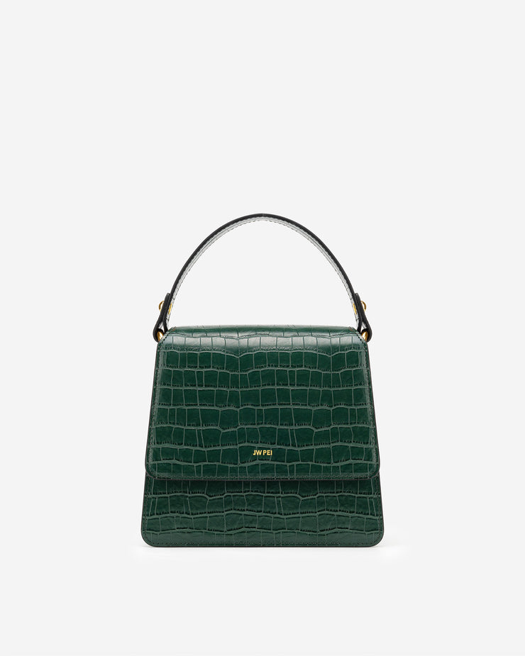 The Fae Top Handle Bag - Dark Green Croc