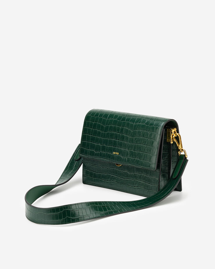 Mini Flap Bag - Dark Green Croc