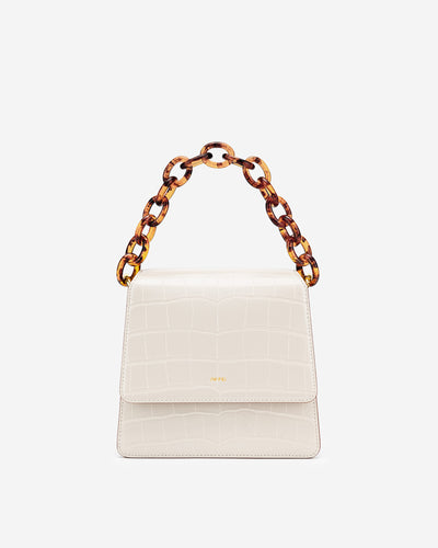 The Fae Acrylic Chain Top Handle Bag - Beige & Brown Croc