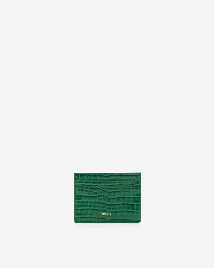 The Card Holder - Green Croc
