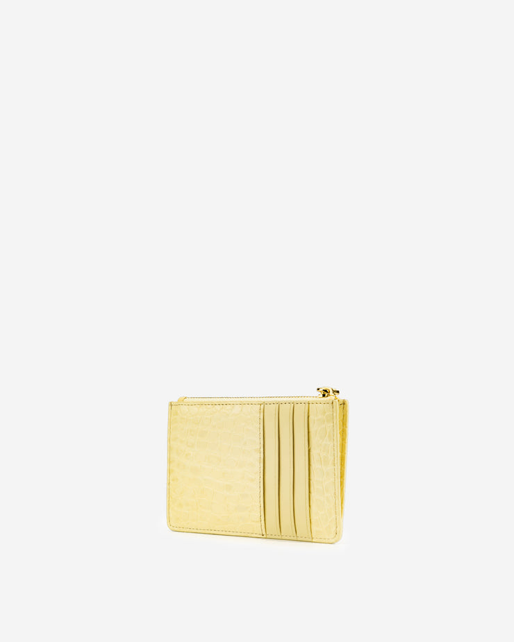Quinn Zipped Card Holder - Light Yellow Croc