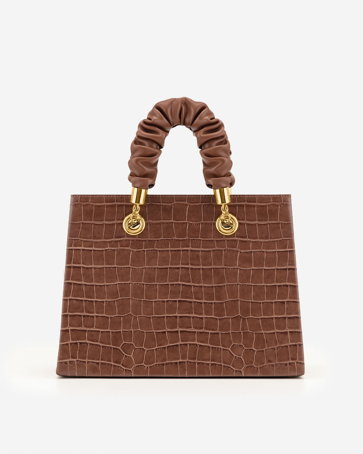 Ella Top Handle Bag - Brown Croc
