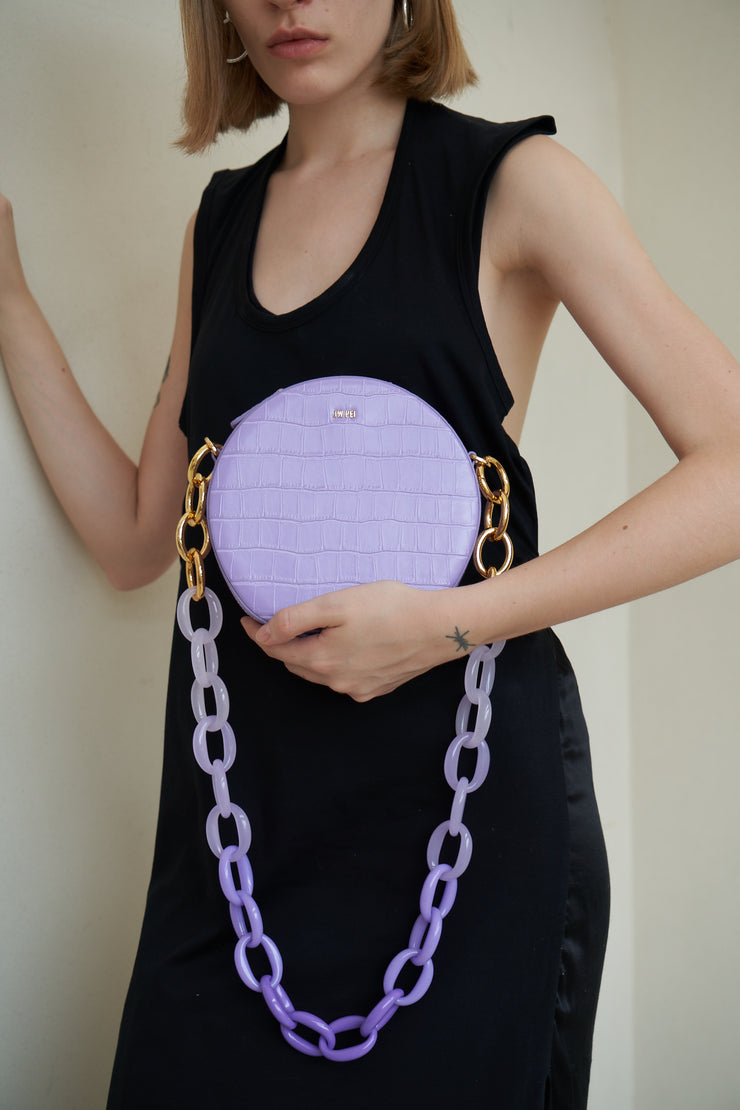 Luna Gradient Acrylic Chain Circle Shoulder Bag - Purple Croc