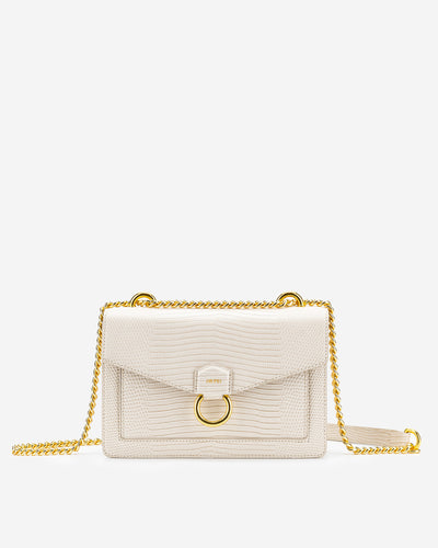 The Envelope Chain Crossbody - Ivory Lizard