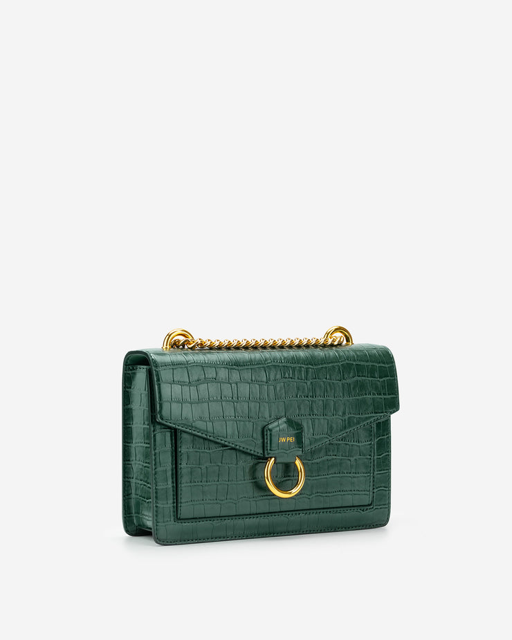 The Envelope Chain Crossbody - Dark Green Croc