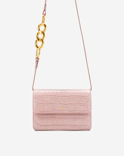 Julia Chain Crossbody Bag - Pink Croc
