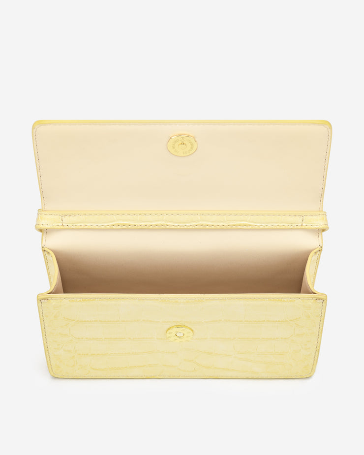Julia Chain Crossbody Bag - Light Yellow Croc