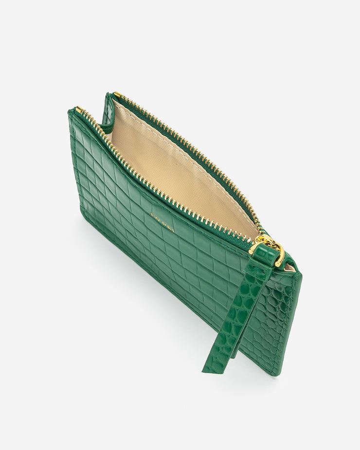 Quinn Zipped Card Holder - Green Croc