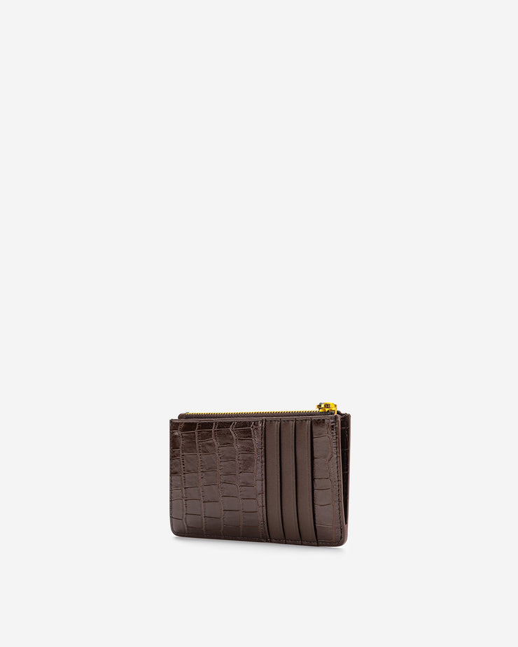 Quinn Zipped Card Holder - Brown Croc
