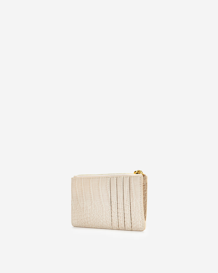 Quinn Zipped Card Holder - Ivory Croc