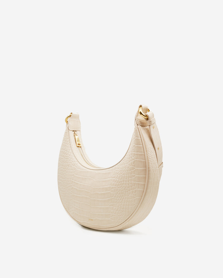 Carly Saddle Bag - Ivory Croc