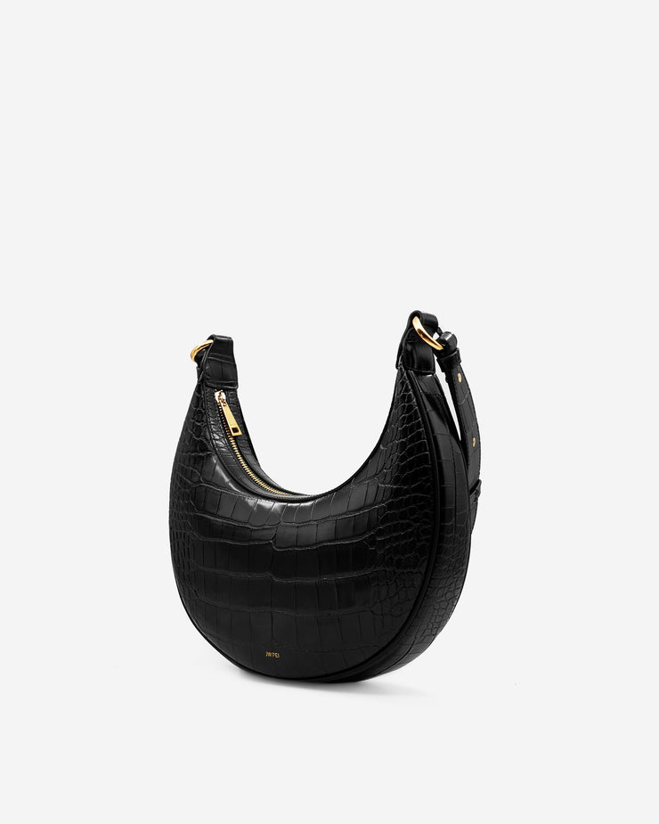 Carly Saddle Bag - Black Croc