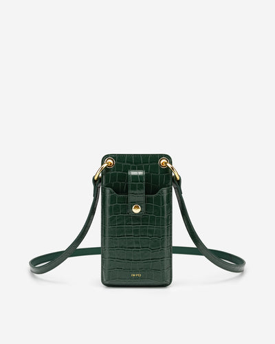 Quinn Phone Bag - Dark Green Croc