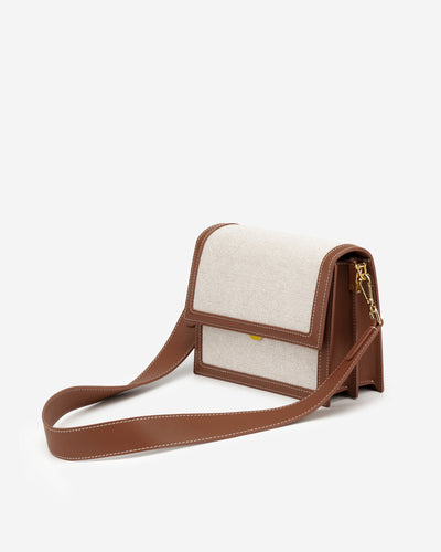 Mini Flap Bag - Beige Canvas