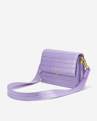 Mini Flap Bag - Purple Croc