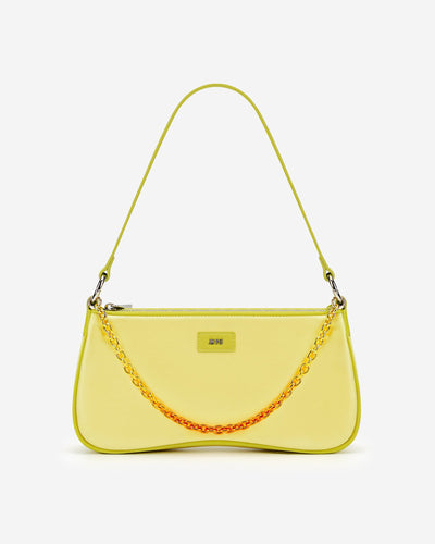 Eva Satin Gradient Chain Shoulder Bag - Yellow