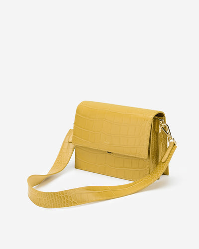 Mini Flap Bag - Mustard Croc