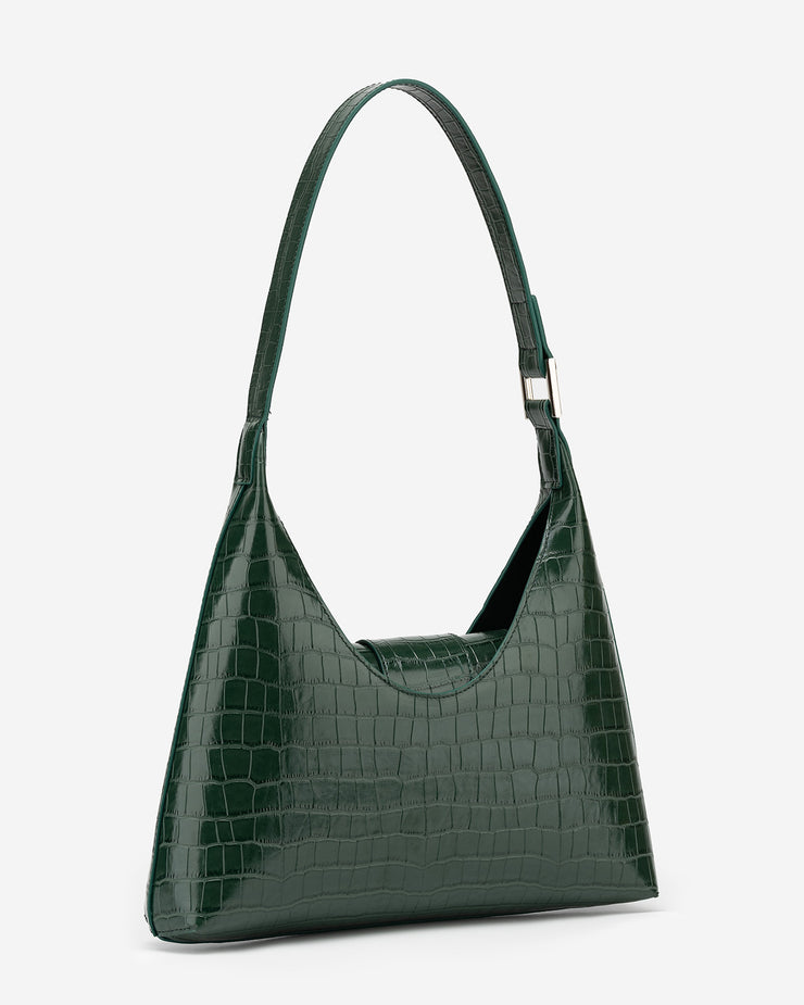 Stella Shoulder Bag - Dark Green Croc